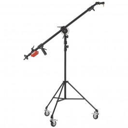 8.5' Articulating Telescopic Boom Arm and 7' Junior Double Riser Stand with Casters